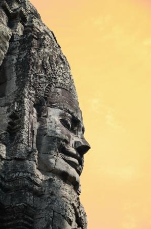 Ancient temple Bayon in Angkor Wat Cambodia photo