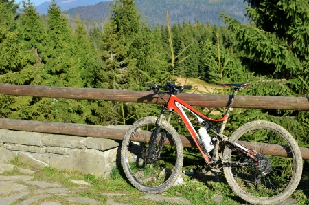 Color bike in sunny day with mud photo