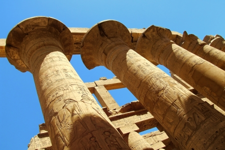 scribes: Pillar with ancient Egyptian script Stock Photo
