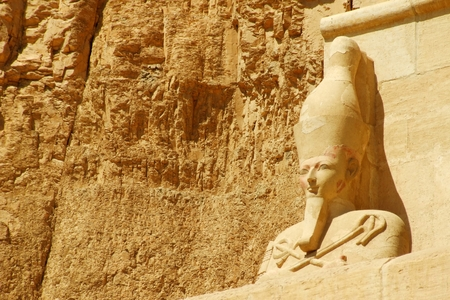 scribes: Ancient Egyptian sculpture Hatshepsut Temple Stock Photo