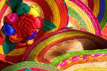 trajes mexicanos: Pila de sombreros mexicanos Sombrero Foto de archivo