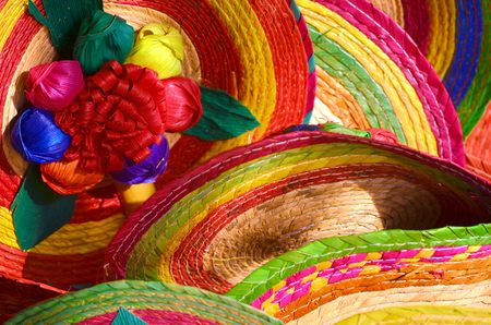 mexican culture: Pile of Mexican sombrero hats
