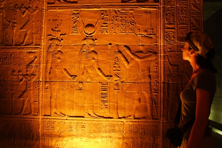 hieroglyphs: Ancient Egyptian scene and script Stock Photo
