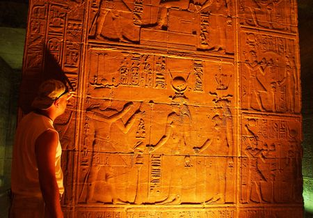 scribes: Ancient Egyptian scene and script Stock Photo