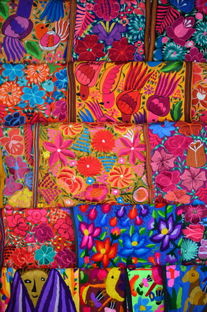 handmade abstract: Mexico, Merida - March 26th, 2014: \Oaxaca in Merida\ - Food and Handcrafts Event. Traditional handmade mexican fabric