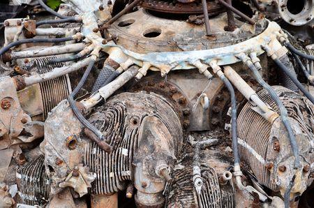 aircraft rivets: engine airplane crash Stock Photo