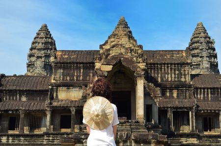article of clothing: woman at Angkor Wat temple complex, Siem Reap, Cambodia Stock Photo