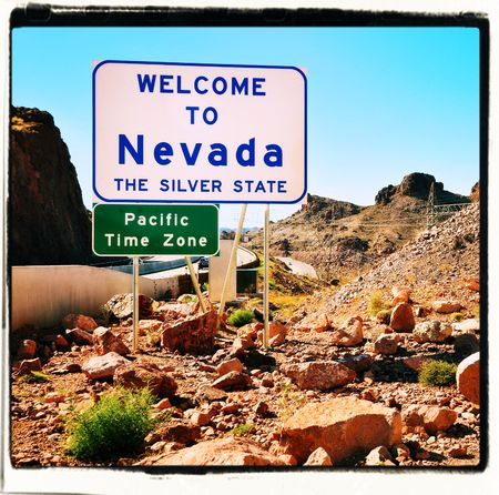 nevada: Welcome to Nevada USA sign Stock Photo