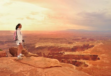 look out: Woman look out on the Canyonlands Stock Photo