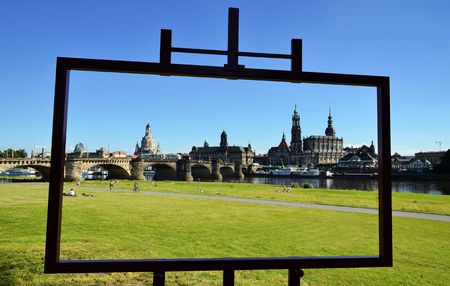 Canaletto view of Dresden from the shore of river Elbe Stock Photo