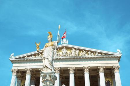 athena: Vienna, Austria - July 26, 2014: Detail of Athena Fountain in front of Austrian Parliament Building in Vienna.