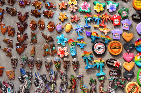 ubud: Ubud, Bali - May 17: Typical souvenirs and handicrafts of Bali at the famous Ubud Market, Indonesia Editorial