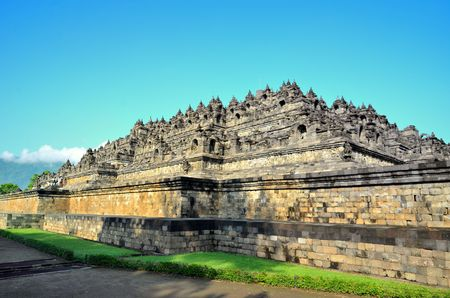 Buddist temple Borobudur complex in Yogjakarta in Java, indonesia Stock Photo