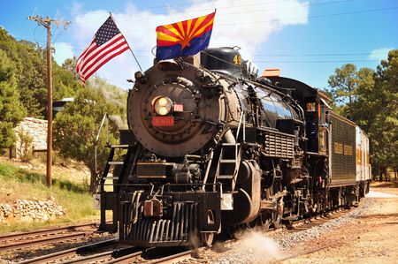 Grand Canyon Village, Arizona, USA - September 17, 2011: Vintage Steam Locomotive at the station in Grand Canyon Village. Grand Canyon Railway.