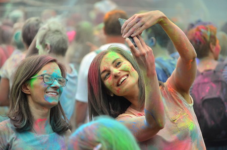 Cracow, Poland - June 28, 2018. People dancing and celebrating during Music and Colors festival.