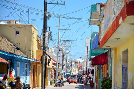 Isla Mujeres, Mexico - March 03, 2014: Street on Isla Mujeres in Mexico during festival