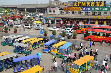 PINGYAO, CHINA - MAY 17 : Parking outside ancient city in Pingyao May 17, 2017 China