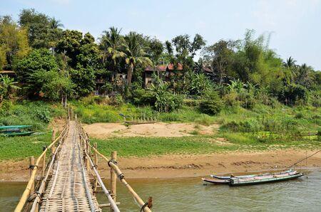 View of a bamboo bridge in Luang Prabang in Laos