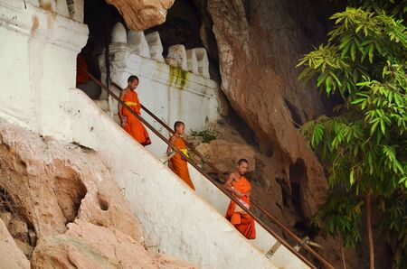 Hundreds of Buddha statues inside Pak Ou Caves, Luang Prabang in Laos