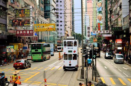 HONG KONG, CHINA - MARCH 28 : Hong Kong cityscape view with famous trams at Wan Chai district of Hong Kong