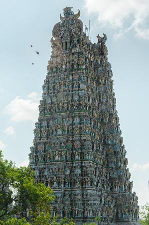 menakshi temple tower vertical. Madirai, India Stock Photo