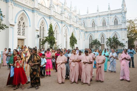 crowd of indian christians prays in Saint Marys Catholic Cathedral church, 23 february 2018 Madurai, India.
