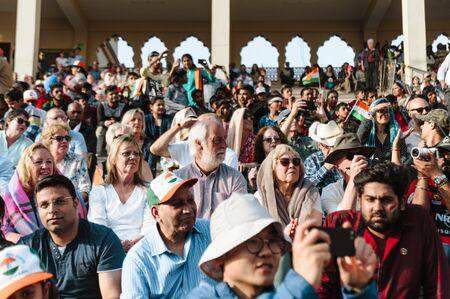 crowd of white european tourists at india pakistan wagah border show. 26 february 2018 Amritsar, India Editorial