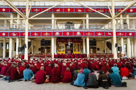 big group of tibetan buddhist monks is on learning meditation practice. 2 february 2018 India, Dharamsala
