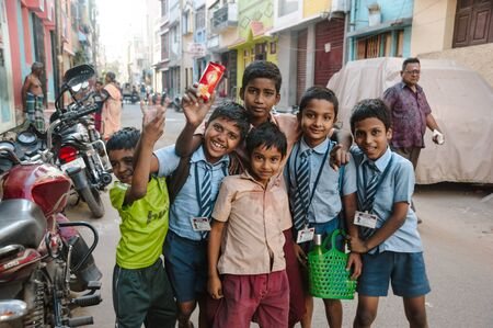indian pupils kids posing in outdoors, 23 february 2018 Madurai, India Editorial