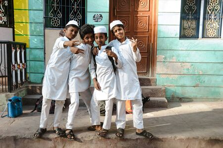 indian muslim pupils kids posing in outdoors, 23 february 2018 Madurai, India