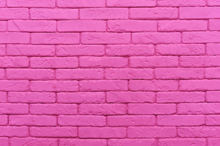 pink brick wall painted at pastel tender colour. closeup texture background