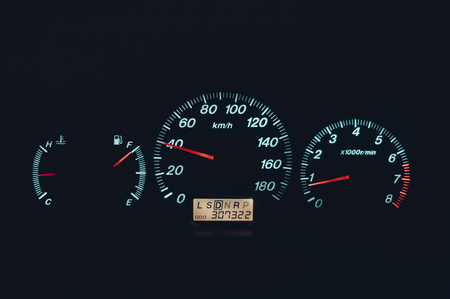 pure speedometer at night with speed arrow at 40. concept of speed safety speed limit in city Stok Fotoğraf