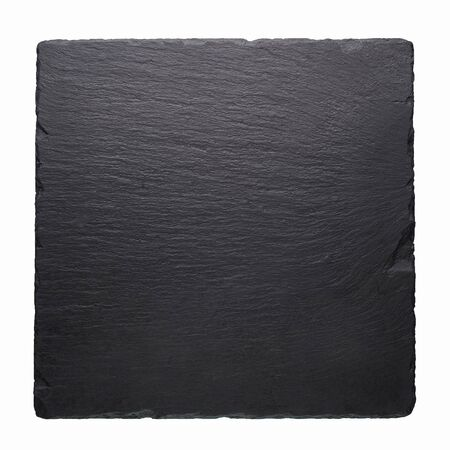 Black stone square tile isolated at white background. Empty black plate with copy space
