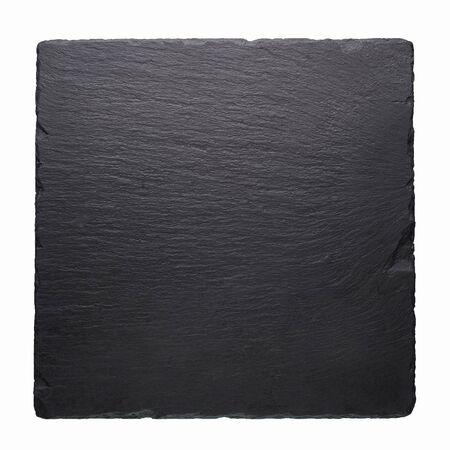 Schwarze quadratische Steinfliese lokalisiert auf weißem Hintergrund. Leere schwarze Platte mit Kopienraum