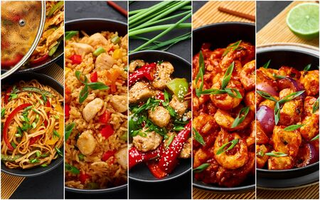 Food collage. Indian chinese cuisine dishes set. Schezwan Noodles, Fried Rice, Chicken, Prawns and Paneer. Indian Food. Asian Dishes Photo Collage Фото со стока - 140953882