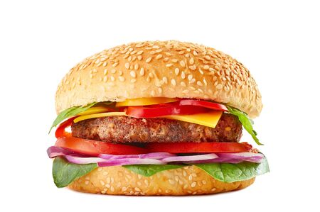 Classic burger with beef or pork cutlet, tomatoes. bell pepper, red onion, cheese, basil and spinach in sesame bun. Isolated on white background. American burger.