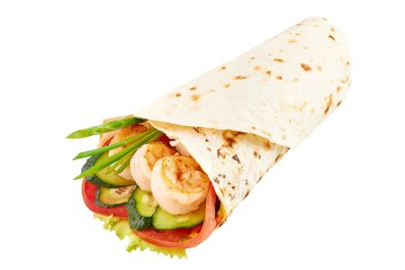 Prawn Roll or Shawarma or Doner isolated on white background. Shawarma with tomato, cucumber, onion, lettuce, and prawns. Fast Food, Isolate