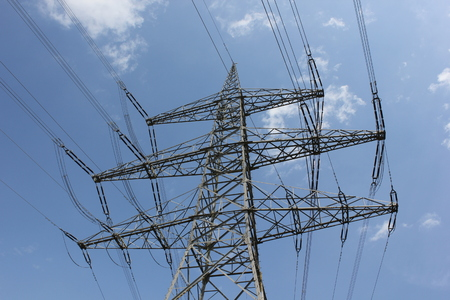 powerline: Outdoor power lines  For the energy revolution we need more power lines Stock Photo
