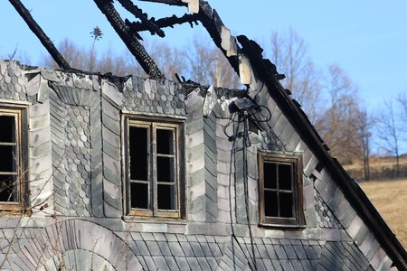 Old house in Poland with burnt out roof