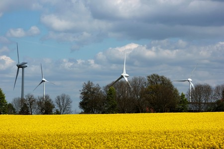 transforms: A wind turbine or wind turbine transforms the wind energy into electrical energy Stock Photo