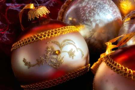 Close-up of beautiful shiny Christmas tree balls for lovingly decorating the Christmas tree