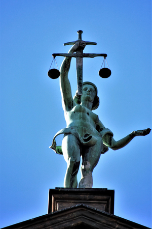 Justitia is the goddess of justice. Justitia is a personification of justice. Stockfoto