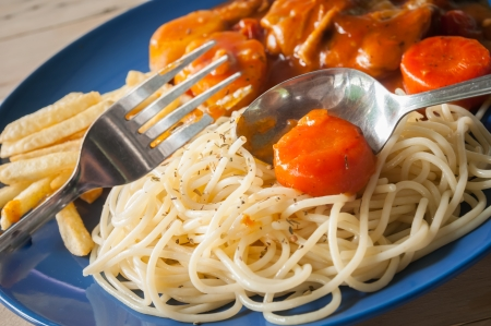 This dish is spaghetti and chicken stew photo