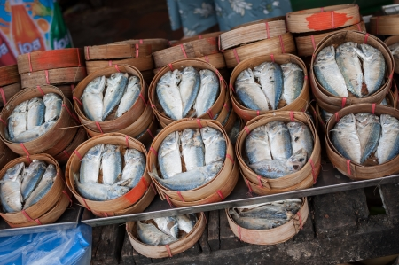 Fresh Mackerel on bamboo baskets to sell in the market Stock Photo - 20955342