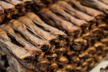 boned: Various types of dried fish sold in the market Stock Photo