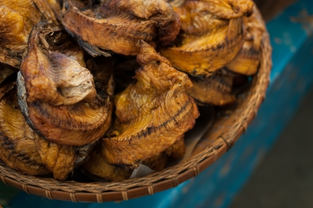 codfish: Various types of dried fish sold in the market Stock Photo
