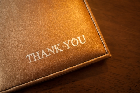 Change with a message saying thank you Stock Photo