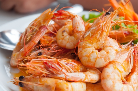 Bake shrimp sold in restaurants in Thailand Stockfoto