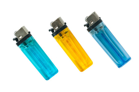 Lighters made ​​of multicolored plastic for smoking Stock Photo - 22488162