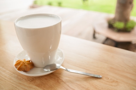 Hot milk and cookie pieces in fine weather Stock Photo
